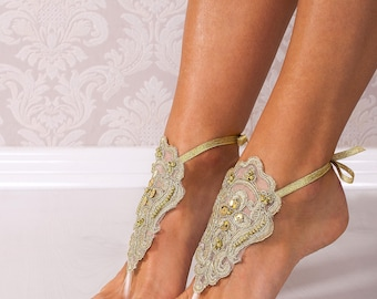Gold Lace barefoot sandals, Bridal footless sandals, Wedding shoes, Bridesmaid barefoot sandals, Beach wedding soleless sandal, Lace Anklets