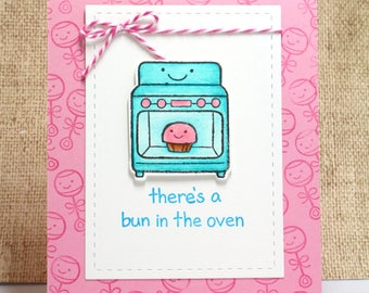 Baby Card- Welcome Baby- Bun in the Oven- Girl Baby Card- New Baby Card