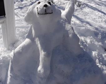 Snow Puppy Snow Sculpture