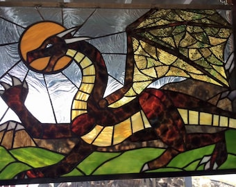 Stained Glass Dragon, Red Dragon, Dragonlance, Stained Glass Panel, Fantasy Glass