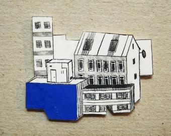 Blue rooftops brooch pin