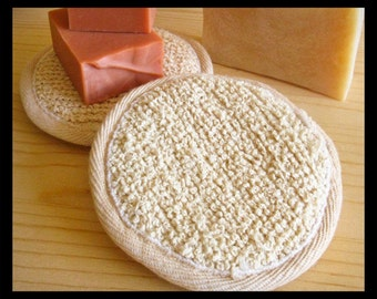 Round Facial Scrubber Pad • Boucle Ramie & Cotton Scrub Pad • Spa Tool, Skin Care •  Men, Women, Teens • Soap Accessory Gift Basket