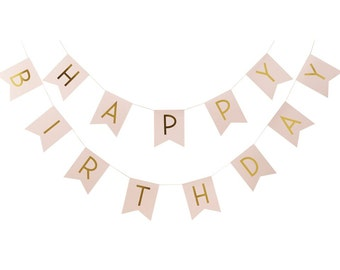 Bunting | Happy Birthday Bunting | Pink Bunting | Gold Foil Bunting | Birthday Party | Pink | 2.5m long | Party Bunting | Birthday Bunting