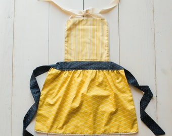 Mommy and Me Apron Set - Mustard and Chambray Dot - Mother Daughter Apron Set