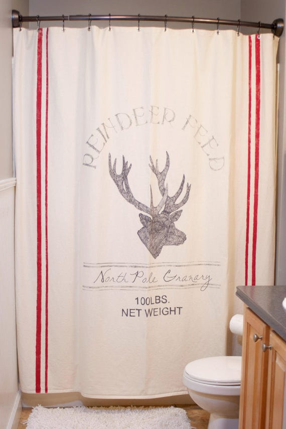 Feedsack Christmas Reindeer Shower Curtain