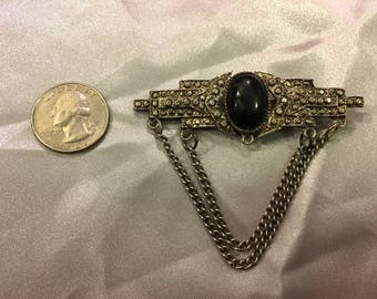 1970s Sterling Silver Brooch with Black Onyx and Chain Detail