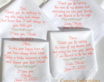 Wedding Gifts Embroidered Wedding Hankerchiefs Set of 4 by Canyon Embroidery