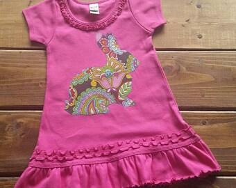 Easter Dress for Girls, Bunny Dress, Easter Outfit, Easter Egg Hunt Outfit, Girls Easter Shirt, Ready to Ship Easter Dress, Girls Dress