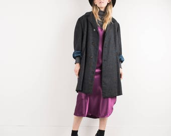 AMAZING Vintage Charcoal and Blue Plaid Oversized Wool Coat Blazer / S / hipster jacket coat womens outerwear overcoat oversized coat tweed