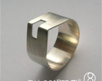 Sterling Silver Ring with Square Angle Top with Window