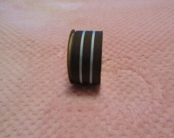 1.5 Inch Grosgrain Brown/Blue Stripe Grosgrain Ribbon Fabric By the  Spool