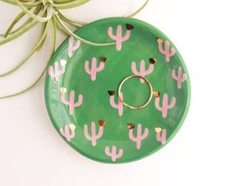 Gold Cactus Ring Dish, Plant Ring Holder, Ceramic Jewelry Dish, Desert Decor, Plant Lady Dish, Gift for Plant Lover, Botanical Decor