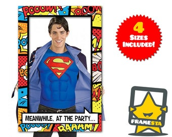 PIY Superhero Party Decorations Photo Booth Frame (Print It Yourself) Super Hero Party