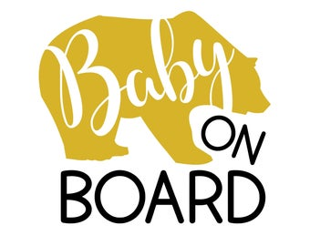 Baby Bear on Board Sticker / Baby Bear Decal / Baby on Board Decal / Baby on Board Sign / Baby Shower Gift / Baby Car Sticker