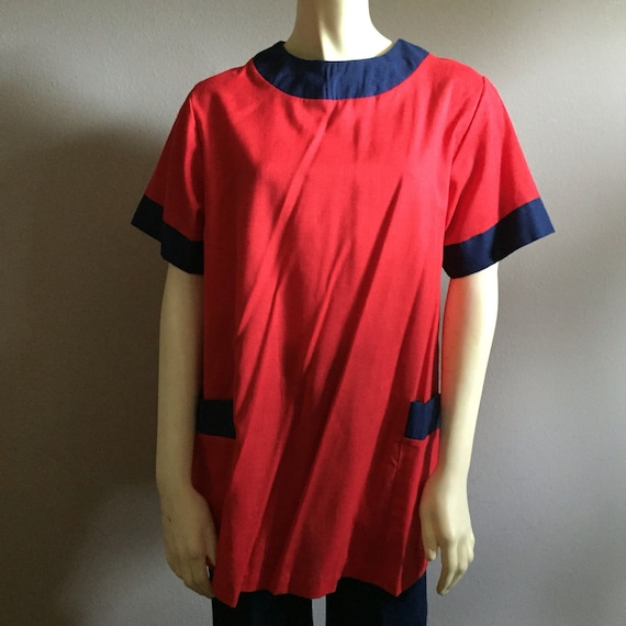 60s mod mini tunic dress size 6 centennial navy and red cotton 1960s short sleeve retro little mini preppy kitsch hipster pockets ringer S M