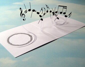 Music Card Spiral Pop Up - Musical Notes 3D Card – Handmade Popup Card - Pop Up Birthday card, Anniversary, Best Wishes