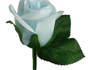 Light Blue Silk Rose Boutonniere - Wedding Boutonniere Prom