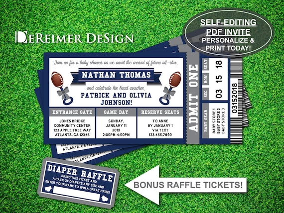 Sports ticket baby boy shower invitation all star baby filmwisefo Image collections