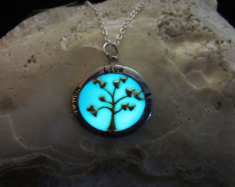 Love Tree, Family Tree, Happy Tree pendant with sterling silver chain glow in the dark