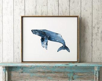 Humpback Whale 101 Blue Print Watercolor Whale Art Whales Decor Whales Coastal Art Beach House Humpback Whale Whale Wall Decor Whale Print