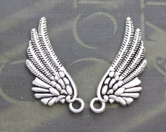 10 Angel wing charms ( double sided ) 30 x 12mm antique silver tone 4 Day Delivery USA