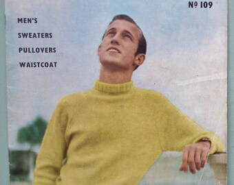 Vogue-Knit No. 109 Men's Sweaters Pullovers Waistcoat 1953 Knitting Patterns Book Vintage 1940s 1950s 40s 50s original patterns