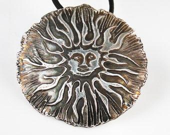 Scottsdale Arizona Sun Rays HUGE 4 inch Tribal Pendant - Fine Silver Necklace - Del Sol Large Silver Pendant - Unique Southwest Sun Gift