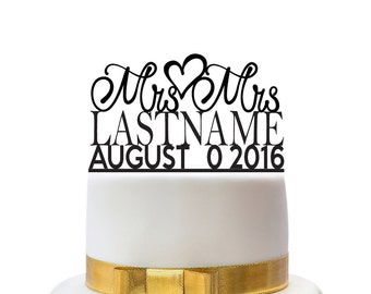 Custom wedding cake toppers Mrs and Mrs with name and date, for a gay wedding couple, other colors also possible, custom made