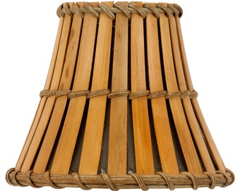 Upgradelights® 4 Inch Clip On Bamboo Style Mini Chandelier Lamp Shade