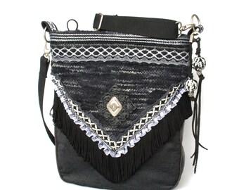 Fringed bag black and white wool fabric, polka dot lace, concho - handmade unique shoulder bag boho chic style - OOAK handmade gift woman