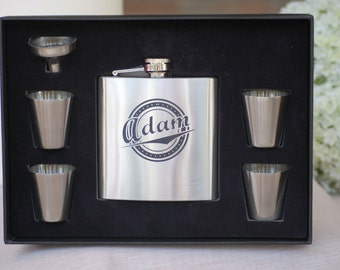 Stainless Flask Wedding Personalized Groomsmen Gift Set 7 Flasks Personalized Wedding Party Gift Custom Flask Best Man Gift Engraved Flask