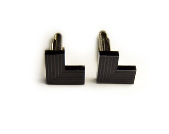 Minimal Black L cufflinks striped engraved matte gift for him groomsman