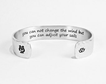"""Graduation Gift / Encouragement gift - """"you can not change the wind but you can adjust your sails"""" 1/2"""" hidden message bracelet"""