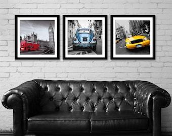 Set of 3 city prints london new york rome city wall art set of 3 prints car print set print set wall art wall decor teraionfo