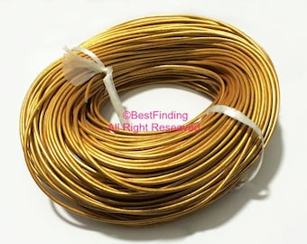 2mm Gold color Round leather cord 2mm Genuine cow leather cording