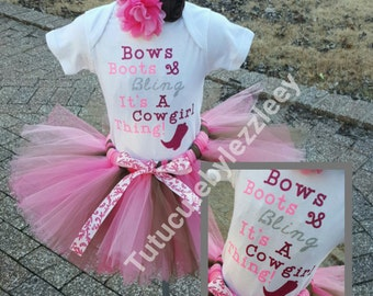 Bows Boots and Bling its a Cowgirl Thing Tutu Set