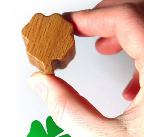 Lucky Four Leaf Clover Rubber Stamp with Wooden Handle