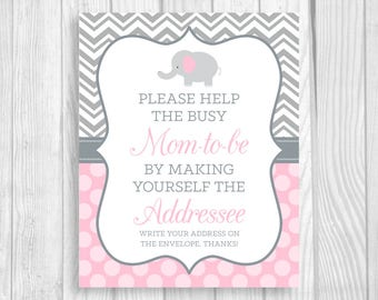 Help Busy Mom-to-Be 8x10 Printable Write Your Address Elephant Baby Shower Sign - Gray Chevron Light Pink Polka Dots Instant Download