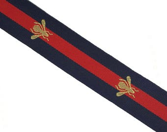 Blue Red Striped Ribbon Trim with Bee, Grosgrain embroidered Ribbon Trim, Choker  Ribbon Trim -