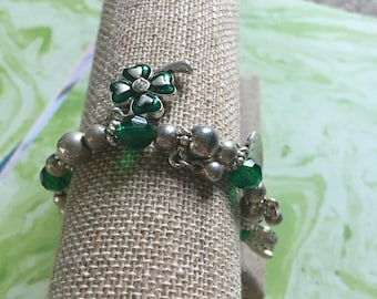 Silver Toned Metal Beaded St. Patrick's Day Bracelet -  Green and Silver Clover Beads - Vintage Holiday Bracelet - Four Leaf Clover - Heart