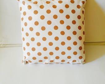 Brown polka dot pillow