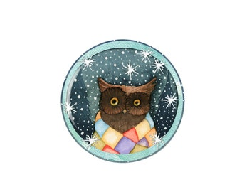 Winter Brown Tawny Owl Pocket Mirror Handmade Jewellery Accessories Gift For Her Present Stocking Filler