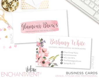 Microblading business card floral pink cosmetologist microblading business card pink floral cosmetologist business card microblading logo lashes licensed colourmoves