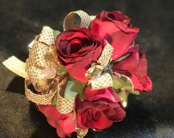 Wine Rose Gold Accent Corsage