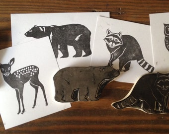 Woodland Animals Set Hand Carved Rubber Stamps Bear Owl Fawn Raccoon
