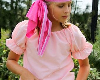 Child Pirate , Pirates Girl Halloween Costume Pink Shirt and Pink crushed velvet Bandana