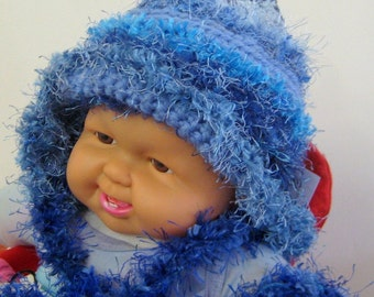 Baby Hat Beanie Earflaps Blue Winter Warmth