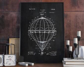 Hot Air Balloon Patent Print, Hot Air Balloon Patent, Hot Air Balloon Art, Hot Air Balloon, Vintage Poster - DA0117