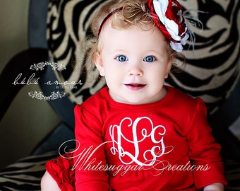 Baby Girl Red Dress - Baby Girl Monogrammed Red Dress - Custom Girl Red Ruffle Dress -  Baby Girl Clothes