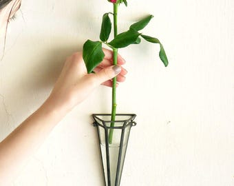 Narrow Diamond Stained Glass, Geometric, Wall Mounted Terrarium Vase, A Diamond Shaped Glass Terrarium, Use As a Hanging Planter or Vase
